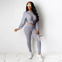 Solid Full Sleeve Long Pants Tracksuit Two Piece Sets DAI-8191