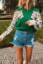 Leopard Print Long Sleeve O Neck Sweater Tops NY-050