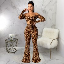 Leopard Print Tie Up Crop Top And Flared Pants Suits YF-9526