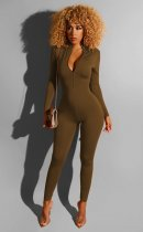 Solid Color Long Sleeve Zipper Bodycon Jumpsuits BS-1130