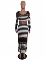 Sexy Striped Mesh Patchwork Long Sleeve Slim Maxi Dress MEM-8237