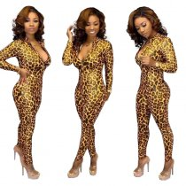 Leopard Print Long Sleeves Front Zipper Jumpsuits TK-6032