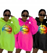 Lips Printed Hooded Long Sleeves Hoodies Sweatshirt LQ-5093