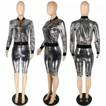 Trendy Punk Zipper Jacket Shorts Two Piece Sets YIS-836