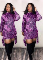 PLus Size Leoaprd Print Long Sleeves Mini Dresses LM-8087