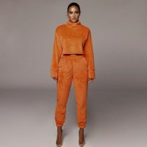 Solid High Collar Long Sleeve Two Piece Pants Sets YF-9531