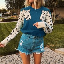 Casual Knitted O Neck Printed Sweater Pullover SFY-061
