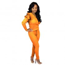 Solid Knitted Ruffles Top Long Pants 2 Piece Outfits YF-9541