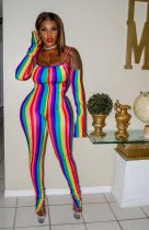 Colorful Stripe Spaghetti Strap Skinny Jumpsuits LDS-3187