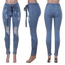 Plus Size Ripped Belted Long Denim Pants NIK-062