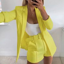 Elegant Blazer Coat And Shorts Two Piece Sets FL-90388