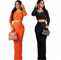 Solid Long Sleeve Crop Top Maxi Skirt 2 Piece Sets OM-1086
