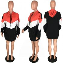 Plus Size Contrast Color Hooded Casual Hoodies Tops PIN-8201