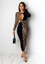 Sexy Leopard Print Hollow Long Sleeve Maxi Dress PIN-8456