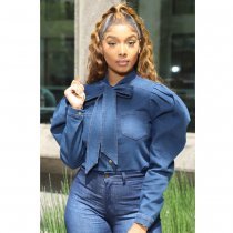 Casual Puff Sleeves Bow Tie Denim Blouses BN-9209