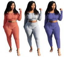 Solid Long Sleeve Crop Top And Pants 2 Piece Sets DM-8100