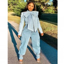 Plus Size  Bow Knot Long Sleeve Denim Jacket Coat SMR-9493
