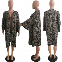 Camouflage Print Full Sleeve Casual Loose Coats HMS-5193