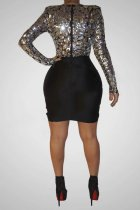 Sexy Sequin Patchwork Long Sleeve Bodycon Dresses CYA-8183