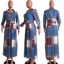 Trendy Printed Long Sleeve Maxi Shirt Dresses OJS-9166