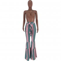 Rainbow Stripe Sashes Long Boot Cut Pants CYAO-8520