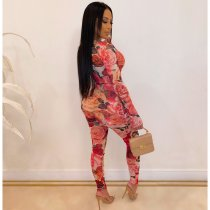 Flower Print Long Sleeve Bodycon One Piece Jumpsuit YD-8140