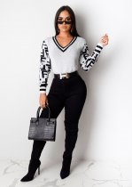 Casual Knitted V Neck Long Sleeve Pullover Sweater ZS-060