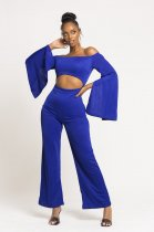 Solid Off Shoulder Long Sleeves One Piece Jumpsuits MOS-971