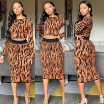 Sexy Stripe Long Sleeve Two Piece Midi Skirt Sets MOS-975