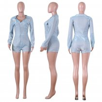 Shinny V Neck Long Sleeve One Piece Rompers NIK-075