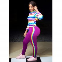 Rainbow Stripe Long Seeve Casual Two Piece Outfits HZM-1027