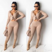 Solid Hooded Zipper Bodycon Two Piece Sets NY-8866