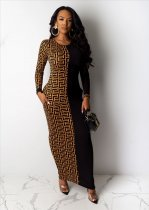 Geometric Print Patchwork Long Sleeve Maxi Dress YMT-6118