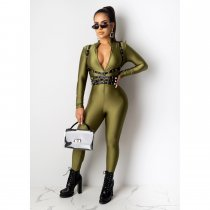 Solid Long Sleeve Front Zipper Skinny Jumpsuits CHY-1198