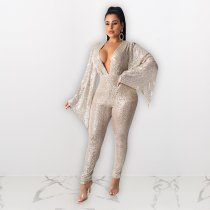 Sexy Sequin Deep V Neck Flare Sleeve Jumpsuits NIK-079