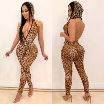 Sexy Leopard Print Deep V Hooded Backless Jumpsuits ML-7262