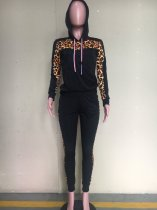 Leopard Print Patchwork Hooded Two Piece Sets ORY-5141