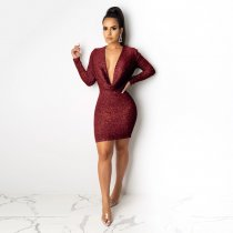 Sexy Sequin Low Cut Long Sleeves Mini Dress LX-8921