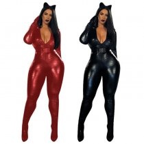 PU Leather Zipper Belted One Piece Jumpsuits MEM-8246