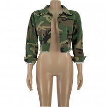 Camouflage Print Button Up Short Jacket Coat FNN-8330