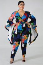 Plus Size 4XL Floral Print V Neck Flare Sleeve Jumpsuits OMF-128