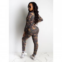 Camouflage Print Long Sleeve 2 Piece Pants Sets CHY-1204