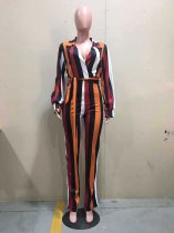 Colorful Stripe V Neck Sashes One Piece Jumpsuits OD-8324