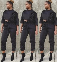 Trendy Ruffles Crop Tops And Pants 2 Piece Sets HGL-1225