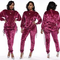 Casual Velvet Long Sleeve Two Piece Pant Sets CM-643