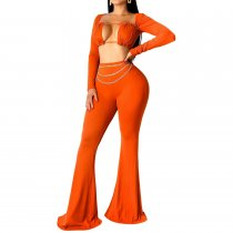 Sexy Long Sleeve Crop Top And Flare Pant Sets PY-8192