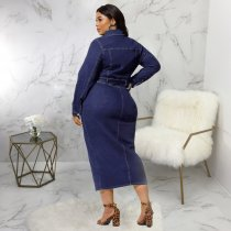 Plus Size Long Sleeves Button Up Long Denim Dress SMR-9519