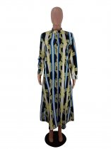 Fashion Printed Button Up Long Sleeve Maxi Dress FST-7057