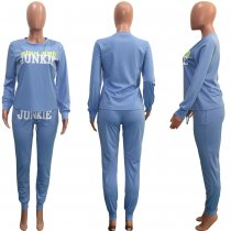 Letter Printed Long Sleeves Tracksuit Two Piece Sets SH-3725