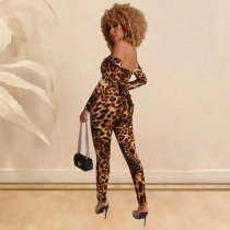 Sexy Leopard Print Off Shoulder Lace Up Jumpsuits SHE-7151